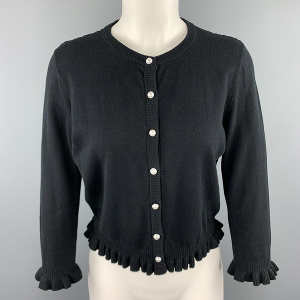 KARL LAGERFELD Size XS Black Cotton Blend Lace Back Ruffle Cardigan