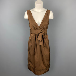 LIDA BADAY Size 8 Brown Polyester Sleeveless Sheath Dress