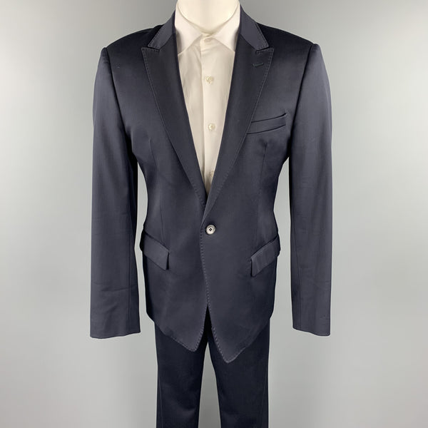 EMPORIO ARMANI 42 Regular Navy Wool Blend Peak Lapel Suit