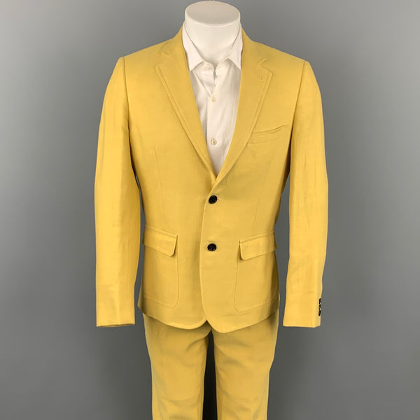 BAND OF OUTSIDERS Size 40 Yellow Linen / Cotton Notch Lapel Suit