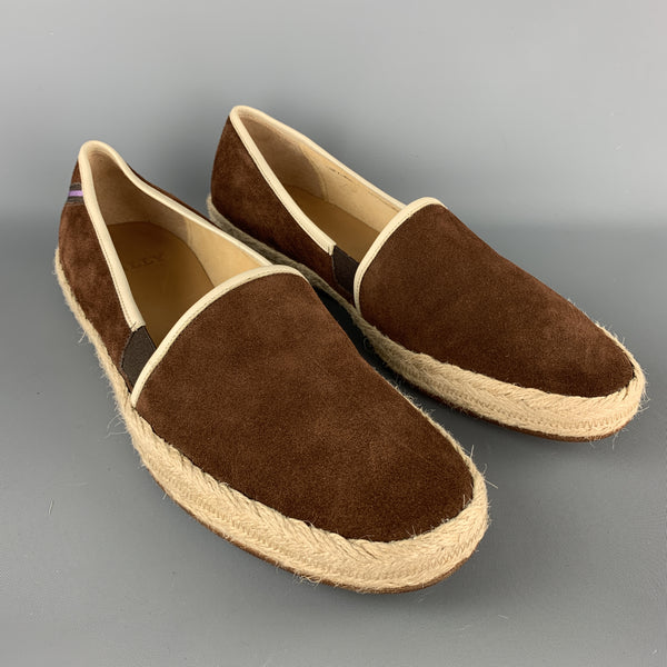 BALLY Size 10 Brown Solid Suede Slip On Loafers