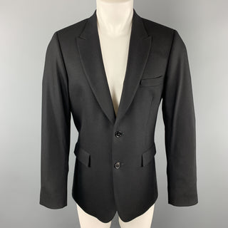 PAUL SMITH Size 40 Black Wool / Cashmere Peak Lapel Sport Coat