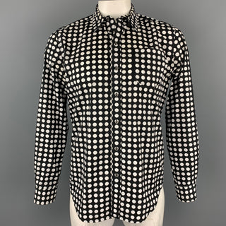 KIDROBOT Size L Black & White Polka Dot Cotton Button Down Long Sleeve Shirt