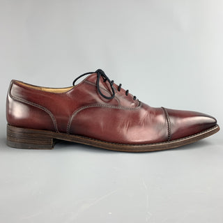 CALZOLERIA HARRIS Size 13 Burgundy Antique Leather Cap Toe Lace Up Shoes