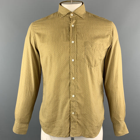 HARTFORD Size XL Mustard Print Cotton Button Up Long Sleeve Shirt