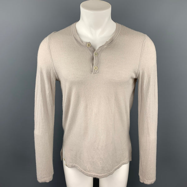 HELMUT LANG Size L Taupe Cashmere Buttoned Henley