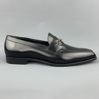 BARKER BLACK Size 12.5 Black Leather Cross Bones Slip On WOLFE Loafers