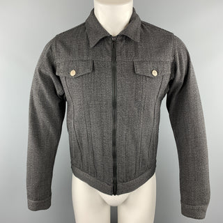 MARC JACOBS Size 36 Gray Glenplaid Yack Zip Trucker Jacket
