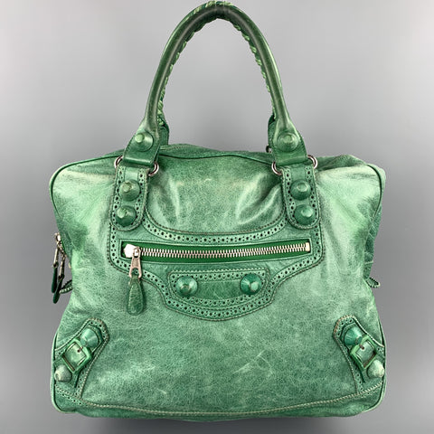 BALENCIAGA Distressed Green Leather Top Handles Handbag