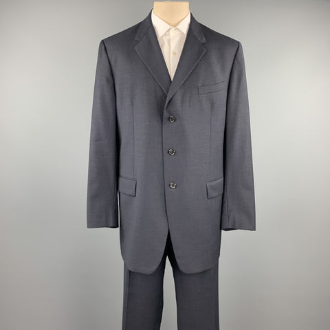 PRADA Size 48 Long Navy Wool Notch Lapel Suit