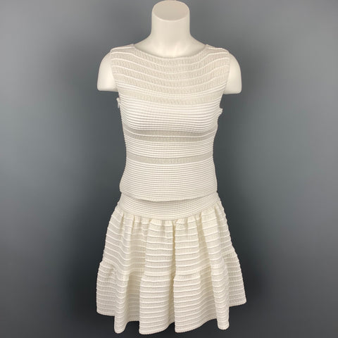 ALAIA Size S White Textured Knit Sleeveless Top & Skirt Set
