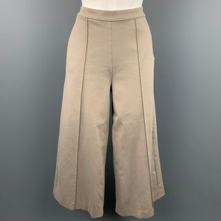 ANTEPRIMA Size 8 Khaki Cotton Blend Cropped Wide Leg High Waisted Casual Pants