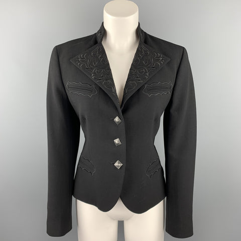 RALPH LAUREN Blue Label Size 12 Black Embroidered Wool Blend Western Blazer