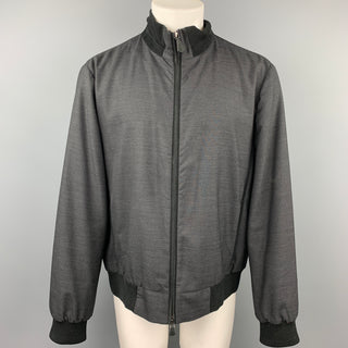 BERLUTI Size XXL Charcoal & Black Wool Zip Up Jacket