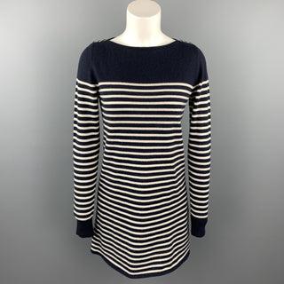AZZARO Size 6 Navy & White Stripe Cashmere / Silk Sweater Dress