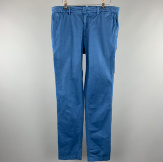 LANVIN Size 34 Blue Solid Cotton Zip Fly Casual Pants