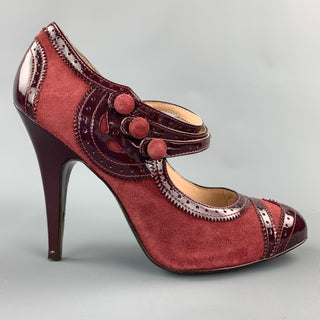 POUR LA VICTOIRE Size 9 Burgundy Two Tone Suede Patent Leather Maryjane Pumps