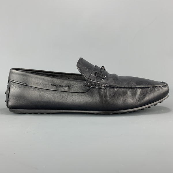 TOD'S Size 10 Black Leather Metal Horsebit  Driver Sole Loafers