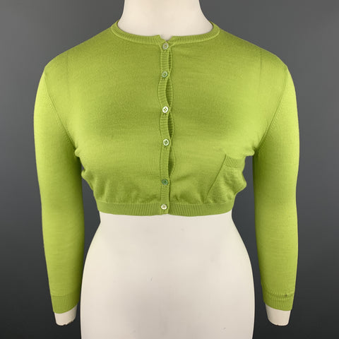 VALENTINO Size L Lime Green Wool Blend Cropped Cardigan