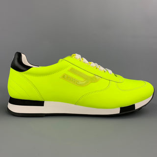 BALLY Size 10.5 Neon Yellow Leather Lace Up Sneakers