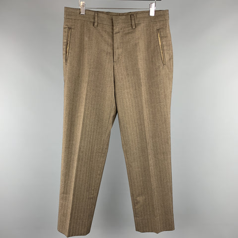 ETRO Size 32 x 29 Brown Herringbone Cotton / Wool Zip Fly Dress Pants
