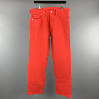LEVI'S Size 34 Red Solid Cotton Jean Cut Casual Pants