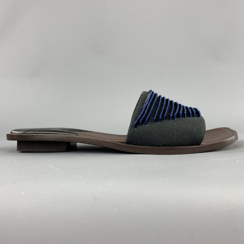 BOTTEGA VENETA Size 7.5 Navy Blue Black Beaded Canvas Strap Brown Leather Sandals
