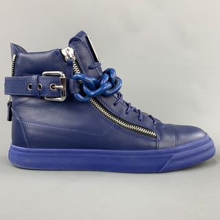GIUSEPPE ZANOTTI Size 10 Solid Blue Leather High Top Sneakers