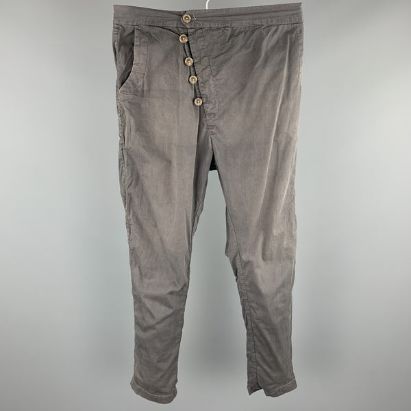 HENRIK VIBSKOV Size 30 Charcoal Cotton Button Fly Casual Pants