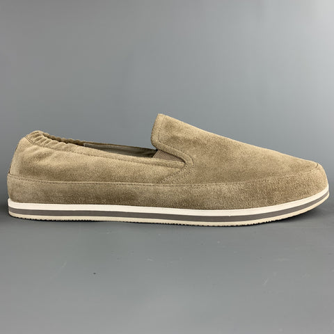PRADA Size 9.5 Taupe Suede Slip On Loafers