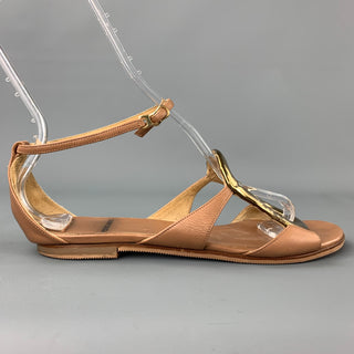 PIERRE HARDY Size 9 Tan Leather Gold Tone Embellishment Sandals