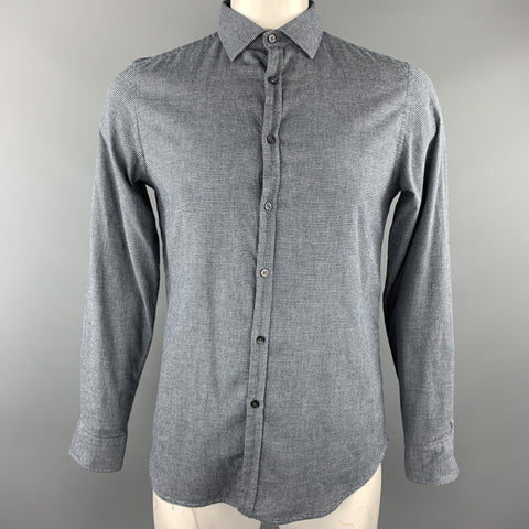 KOIKE Size L Gray Houndstooth Cotton Button Up Long Sleeve Shirt