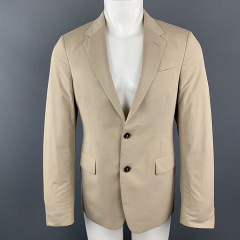 PRADA Size 38 Khaki Beige Cotton Blend Notch Lapel Sport Coat