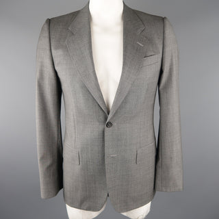 YVES SAINT LAURENT 38 Gray Solid Wool Sport Coat
