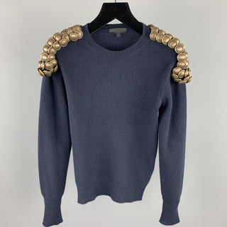 BURBERRY PRORSUM Fall 2010 Size XS Navy Knitted Wool Gold Button Epaulettes Crew-Neck Sweater