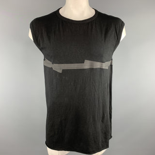 ISAAC SELLAM Size M Black Textured Cotton Sleeveless T-shirt