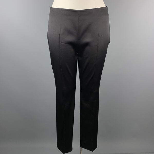 AKRIS Melissa Size 12 Black Silk Blend Satin Side Zipper Dress Pants