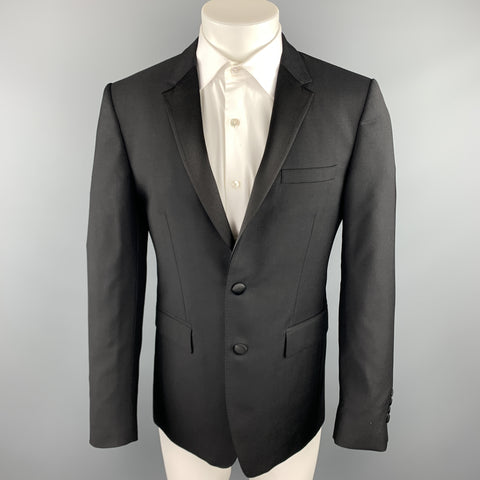 BURBERRY LONDON Size 38 Black Wool / Mohair Notch Lapel Sport Coat