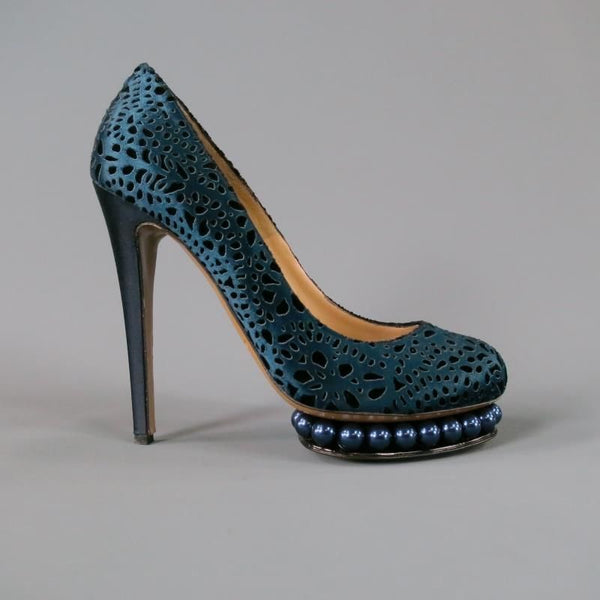 NICHOLAS KIRKWOOD Size 9 Navy Silk Cut Out Platform Pumps