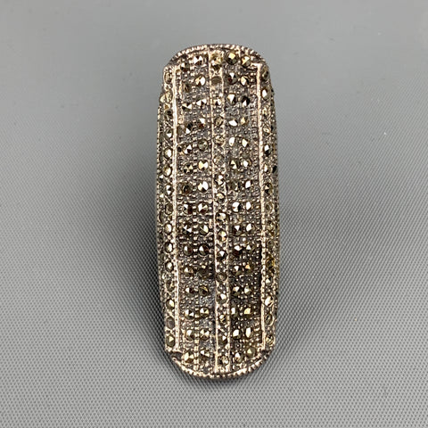 ASH+AMES Silver Tone Marcasite Rectangle Ring