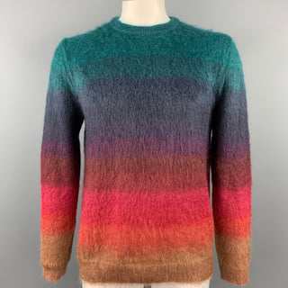 PAUL SMITH Size XL Multi-Color Textured Mohair Blend Crew-Neck Sweater