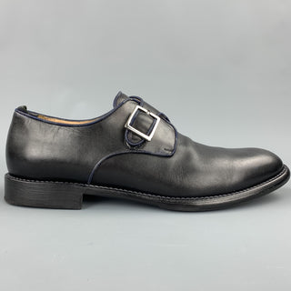 JUSTIN DEAKIN Size 10 Black Leather Monk Strap Loafers
