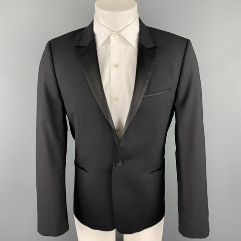 HUGO BOSS Size 38 Short Black Wool Peak Lapel Tuxedo Suit