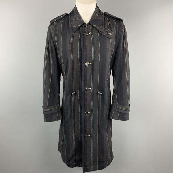 Y's by YOHJI YAMAMOTO Size M Charcoal & Navy Striped Wool Trench Coat
