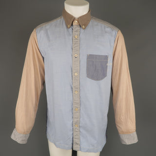 45rpm Size M Blue Gray & Tan Color Block Chambray Long Sleeve Shirt - Sui Generis Designer Consignment