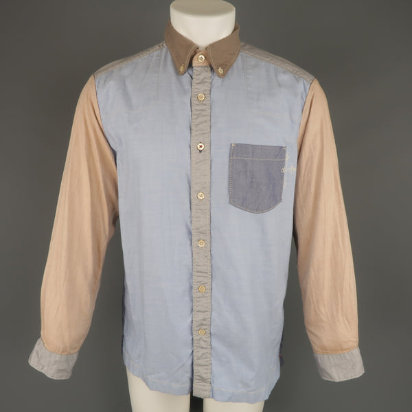 45rpm Size M Blue Gray & Tan Color Block Chambray Long Sleeve Shirt