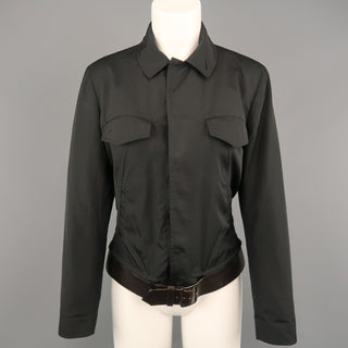 JEAN PAUL GAULTIER Size 8 Black Hidden Placket Brown Belt Trucker Jacket