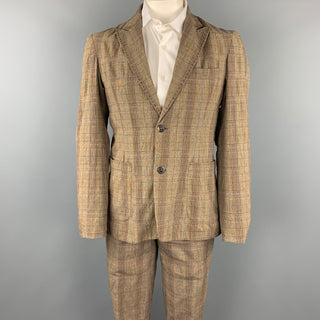 PODOLL Size M Brown Plaid Cotton Blend Peak Lapel Suit