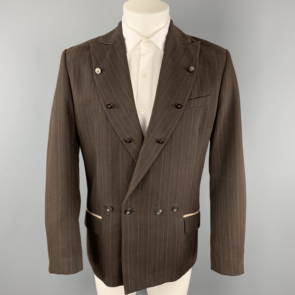 ANDREW MACKENZIE Size 38 Brown Stripe Cotton / Wool Peak Lapel Buttons Trim  Sport Coat