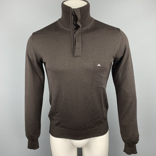 J. LINDEBERG Size S Brown Merino Wool High Collar Pullover